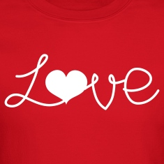 Red LOVE written with a love heart  Long Sleeve Shirts