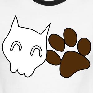 Chocolate/tan CATTY SKULL with cute paw T-Shirts - Men's Ringer T-Shirt