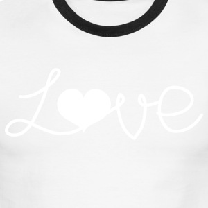 Red/white LOVE written with a love heart  T-Shirts - Men's Ringer T-Shirt