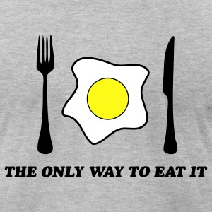 Heather grey The Only Way To Eat An Egg  By VOM Design - virtualONmars T-Shirts - Men's T-Shirt by American Apparel