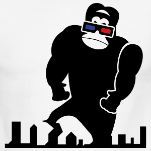 White/black 3D GORILLA RAMPAGE GEEK LIKES TO TRASH THIS CITY T-Shirts - Men's Ringer T-Shirt