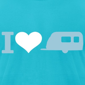 Turquoise Camping T-Shirts - Men's T-Shirt by American Apparel