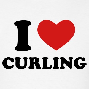 White I Love Curling T-Shirts - Men's T-Shirt