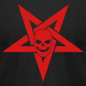 Black Pentagram with Skull 1 T-Shirts - Men's T-Shirt by American Apparel