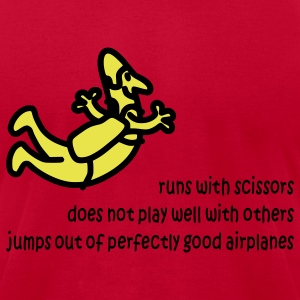 Red Runs With Scissors T-Shirts - Men's T-Shirt by American Apparel