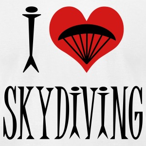 White I Love Skydiving T-Shirts - Men's T-Shirt by American Apparel
