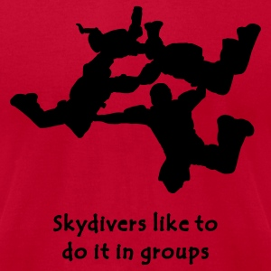 Light blue Skydivers Like To Do It In Groups T-Shirts - Men's T-Shirt by American Apparel
