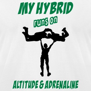 White My Hybrid Runs On Altitude & Adrenaline T-Shirts - Men's T-Shirt by American Apparel