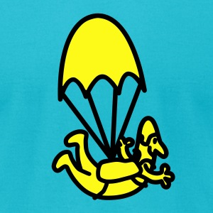 Turquoise Cartoon Skydiver And Parachute T-Shirts - Men's T-Shirt by American Apparel