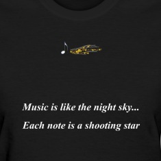 Black musicshootingstar Women's T-Shirts