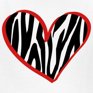 White zebra heart Kids' Shirts - Kids' T-Shirt