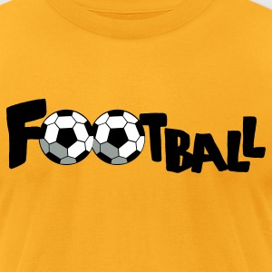 Gold SOCCER FOOTBALL sports word T-Shirts - Men's T-Shirt by American Apparel