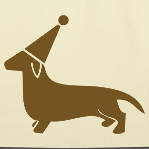 Creme little dachshund miniture dog in a cute party hat Bags  - Eco-Friendly Cotton Tote