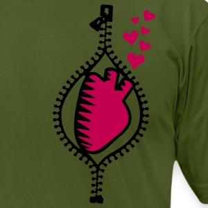 Olive heart behind zipper (2c) T-Shirts - Men's T-Shirt by American Apparel