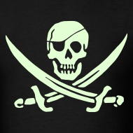 Design ~ PIRATES of the CARIBBEAN T-Shirt Pirate Flag Glow in the Dark Tee