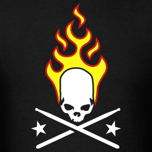 Black fire_skull_drumsticks_a_3c T-Shirts - Men's T-Shirt