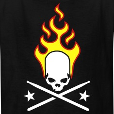 Black fire_skull_drumsticks_a_3c Kids' Shirts