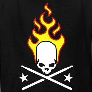 Black fire_skull_drumsticks_a_3c Kids' Shirts - Kids' T-Shirt