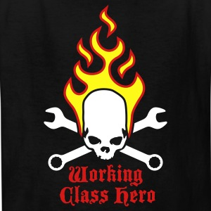 Black fire_skull_working_class_hero_b_3c Kids' Shirts - Kids' T-Shirt