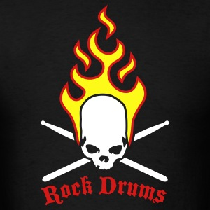 Black fire_skull_drumsticks_d_3c T-Shirts - Men's T-Shirt