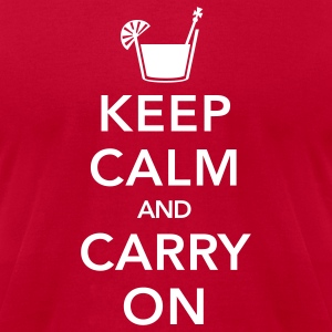 Red Keep Calm And Carry On T-Shirts - Men's T-Shirt by American Apparel