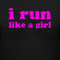Black i run like a girl  Women's T-Shirts