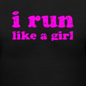 Black i run like a girl  Women's T-Shirts - Women's V-Neck T-Shirt