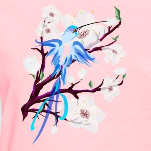 Blue Hummingbird and Cherry Blossoms - Women's T-Shirt