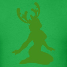 Bright green CHRISTMAS reindeer sexy woman T-Shirts