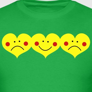 Bright green THREE HEARTS TOGETHER smiling and frowning cute ! T-Shirts - Men's T-Shirt