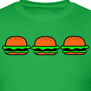 Bright green three hamburgers junk food T-Shirts - Men's T-Shirt
