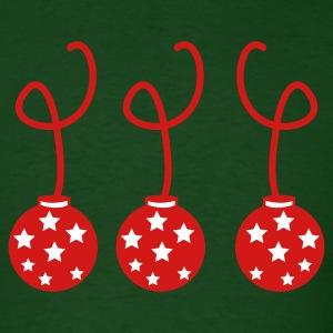 Forest green three christmas baubles with stars T-Shirts - Men's T-Shirt