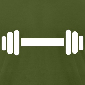 Olive Barbell - Bodybuilding T-Shirts - Men's T-Shirt by American Apparel