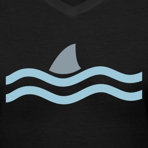 Black SHARK IN THE WATER Women's T-Shirts - Women's V-Neck T-Shirt