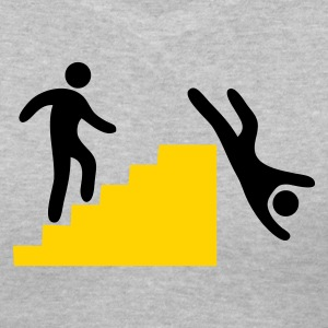 Gray WARNING man jumping off the stairs funny Women's T-Shirts - Women's V-Neck T-Shirt