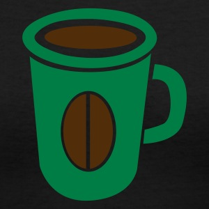 Black green coffee cup with bean Women's T-Shirts - Women's V-Neck T-Shirt