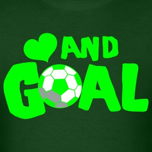 Forest green HEART AND GOAL SOCCER LOVE football T-Shirts - Men's T-Shirt