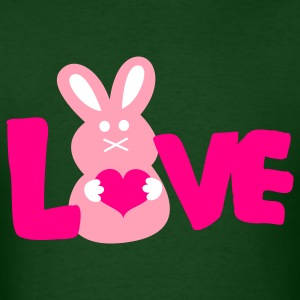 Forest green LOVE BUNNY cute T-Shirts - Men's T-Shirt