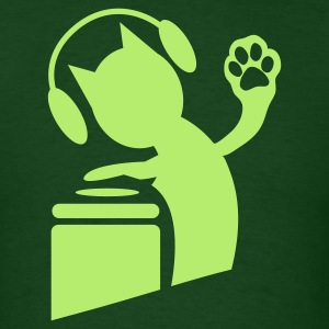 Forest green DJ humor cat on the decks Hi Five with paws ! T-Shirts - Men's T-Shirt