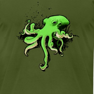 Octopus mean green - Men's T-Shirt by American Apparel