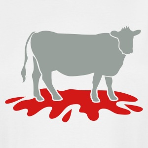 White cow meat with blood spatter vegetarian vegan T-Shirts - Men's Tall T-Shirt