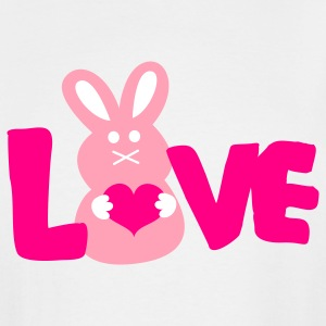 White LOVE BUNNY cute T-Shirts - Men's Tall T-Shirt