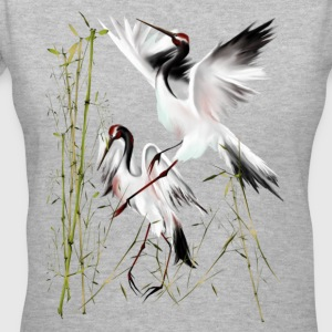 Two Cranes In Bamboo - Women's V-Neck T-Shirt