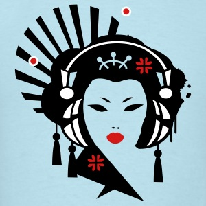 Sky blue Geisha with Headphones T-Shirts - Men's T-Shirt