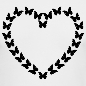 White Butterfly Heart (1c) Long Sleeve Shirts - Men's Long Sleeve T-Shirt by Next Level