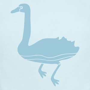 Sky blue swan swimming bird with a long neck Baby Body - Baby Short Sleeve One Piece