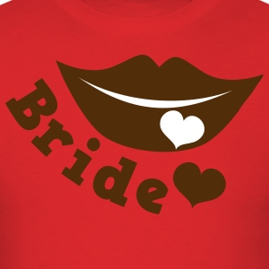 Red bride with smiling lips and love heart T-Shirts - Men's T-Shirt