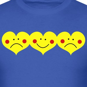 Royal blue THREE HEARTS TOGETHER smiling and frowning cute ! T-Shirts - Men's T-Shirt