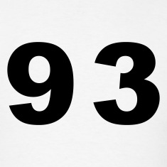 White Number - 93 - Ninety Three T-Shirts