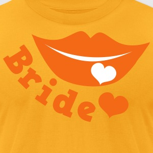 Gold bride with smiling lips and love heart T-Shirts - Men's T-Shirt by American Apparel